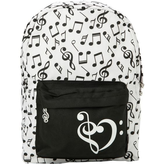 Black & White Music Note Backpack | Hot Topic ($23) ❤ liked on Polyvore featuring bags, backpacks, accessories, rucksack bag, strap bag, padded bag, backpacks bags ve black and white backpack: