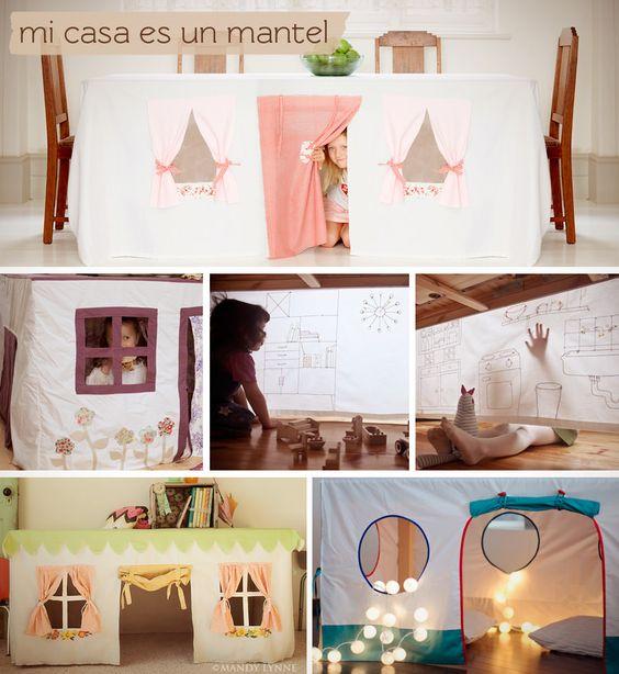 Ideas para hacer una casa de juguete con un mantel de tela