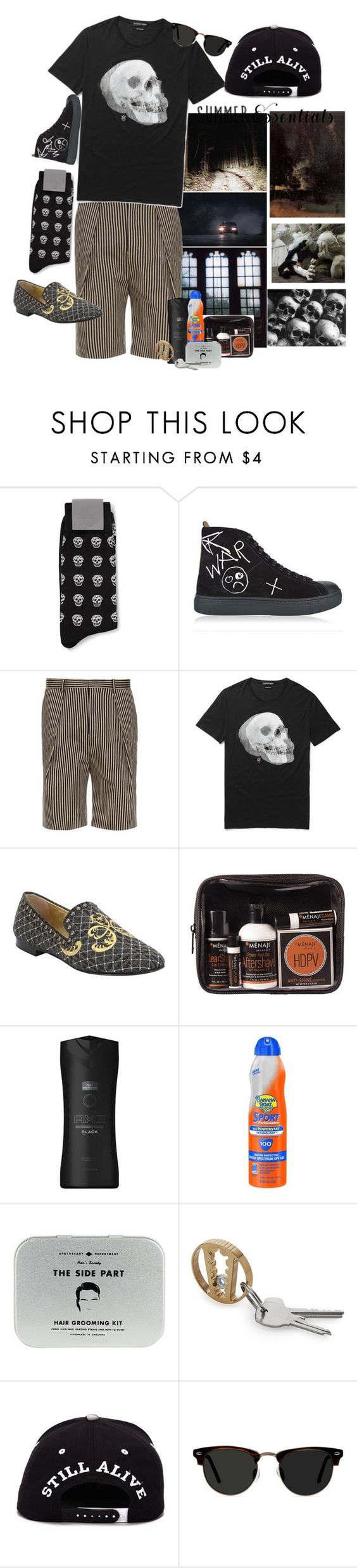 """Black Heart"" by marcusv ❤ liked on Polyvore featuring Alexander McQueen, Vivienne Westwood Man, TOMORROWLAND, Giuseppe Zanotti, MÃ«naji, Axe, Banana Boat, Men's Society, Ace and men's fashion"