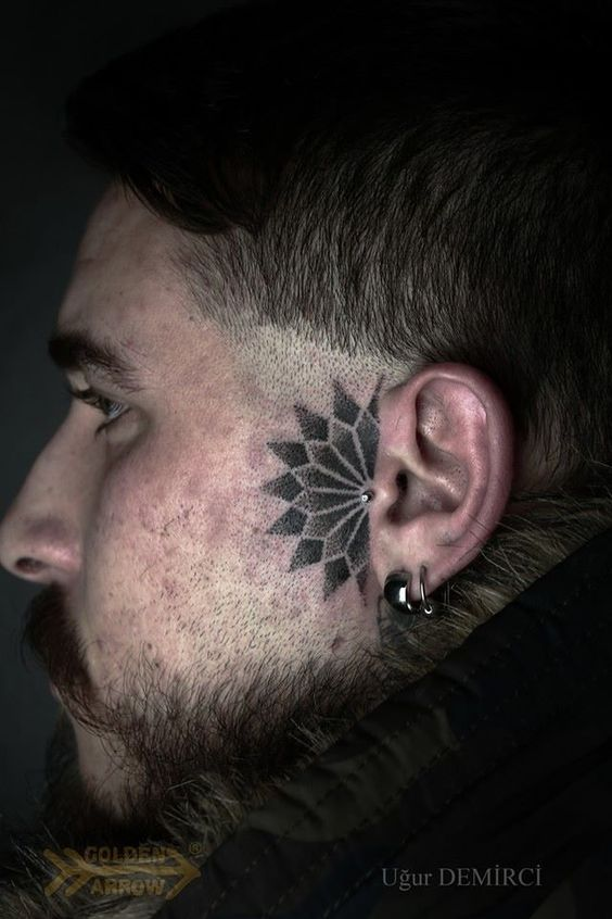 Side Of Face Tattoos