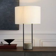 Industrial Outline Table Lamp Concrete Antique Bronze Modern