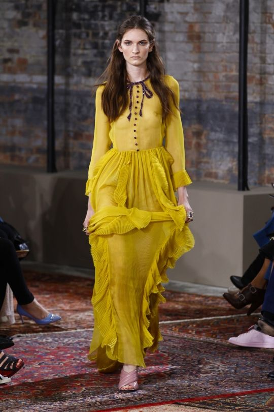 "These are the colours you'll be wearing in 2016: Buttercup ""Buttercup is all about sunlight, happiness and cheer — this one just speaks to give us a ray of sunshine, something to be hopeful about. It really energises,"" says Leatrice Eiseman, Pantone Color Institute executive director, to WWD. Image: Gucci:"