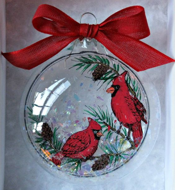 Christmas Tree San Jose: Glass Christmas Ornament With Cardinals Inside That Have