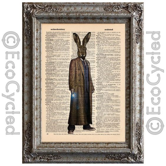 New to EcoCycled on Etsy: Doctor Lord Rabbit on Vintage Upcycled Dictionary Art Print Book Art Print Time Recycled Geek (10.00 USD)