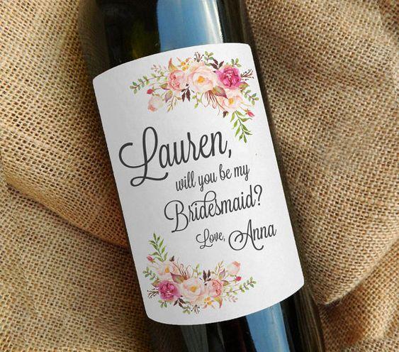 be my bridesmaid wine bottle label