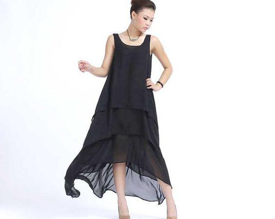 Robe blanche maxi robe en mousseline de soie robe de par xiaolizi