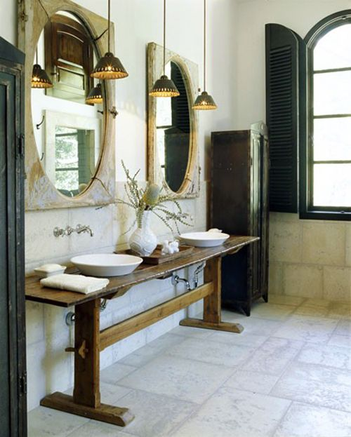 Love the idea of a long skinny console table as a vanity for Skinny vanity table