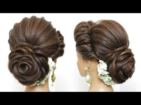 New Latest Hairstyle With Flower Bun Bridal Updo For Girls And Women Youtube New Bridal Hairstyle Bridal Hair Buns Bun Hairstyles For Long Hair