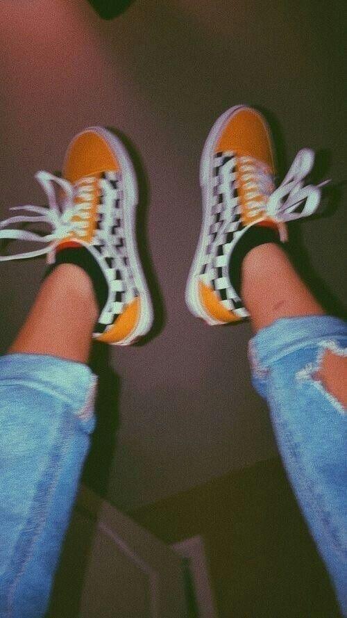 orange checkered vans | Street fashion