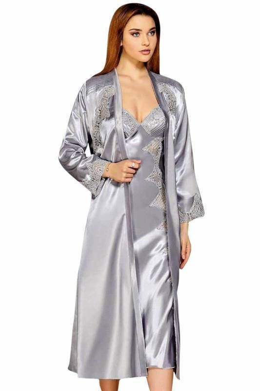 طقم روب و قميص نوم مفص ل بدانتيل ستان حرير عدد 6 قطع نسائي Fashion Coat Duster Coat