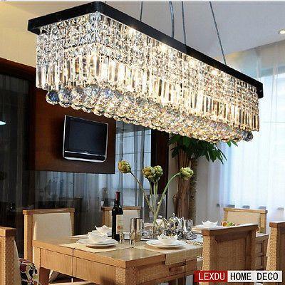 New-Modern-Rectangle-Luxury-Crystal-Pendant-Light-Ceiling-Lamp-Chandelier-Light