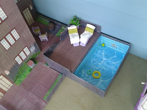 Finished pool shown connected to house see how to make a barbie house for house instructions for Barbie doll house with swimming pool