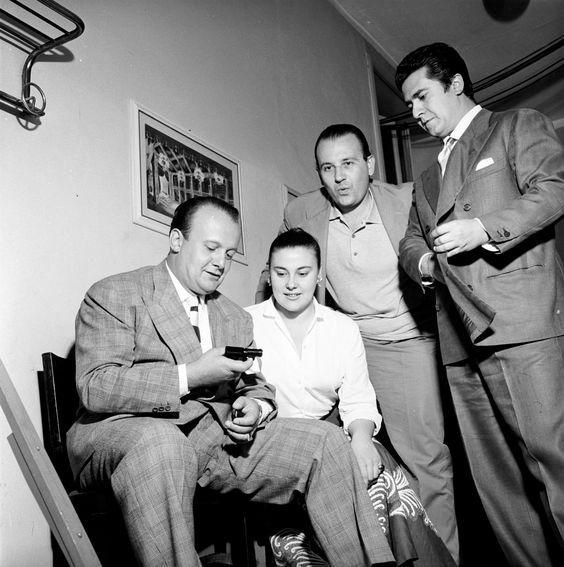 Tito Gobbi, Eugenia Ratti, Nicola Zaccaria, Giuseppe Di Stefano at La Scala in 1955 http://www.archiviolascala.org/: