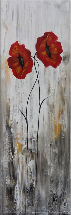 LARGE Abstract Modern Poppies Painting Original Floral Art by Catalin 50x30. $239.00, via Etsy.