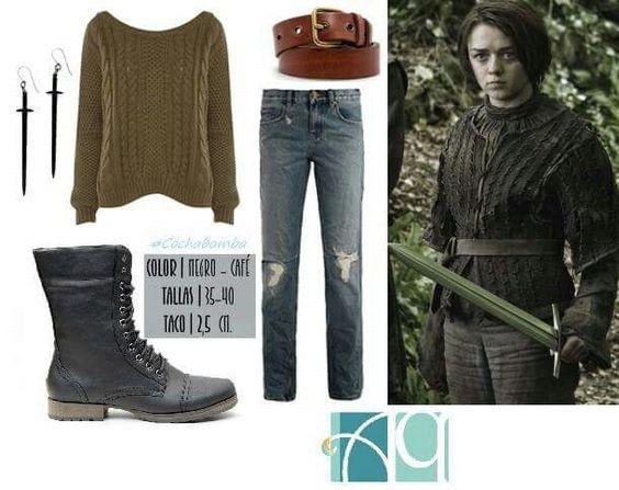 Outfit inspirado en Arya Stark, Game of Thrones Aquarella venta de calzados por catalogo, Aquarella Cochabamba Bolivia