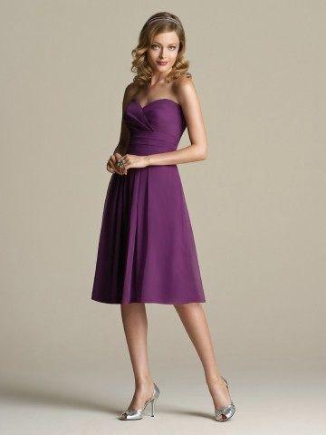 A-line Sweetheart Ruffles Sleeveless Knee-length Chiffon Grape Bridesmaid Dress