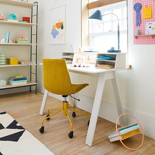 Modern Slope Upholstered Office Chair Basketslub Dark