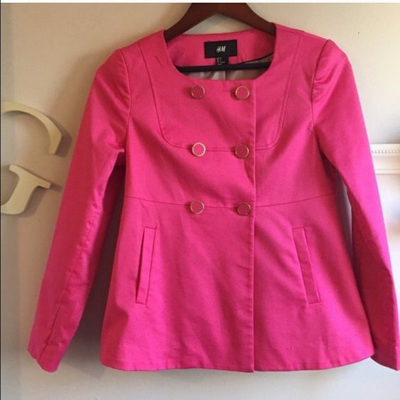 H&M button front swing jacket Rare vintage looking swing jacket.  Hot pink!  Cotton/elastane and fully lined!   Like new condition H&M Jackets & Coats