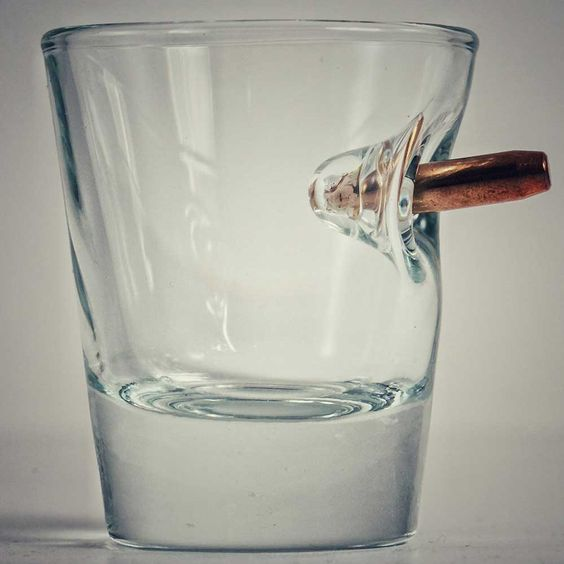 Shot Glass With Real Bullet #Under-$50 #For-Men #Gifts-For_The-Lush