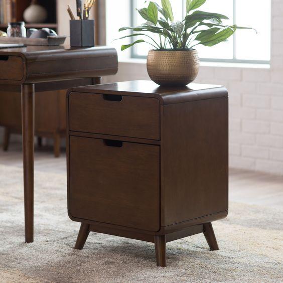 Belham Living Carter Mid Century Modern Two Drawer File Cabinet Www Hayneedle Com Filing Cabinet Writing Desk Modern Mid Century Modern Furniture