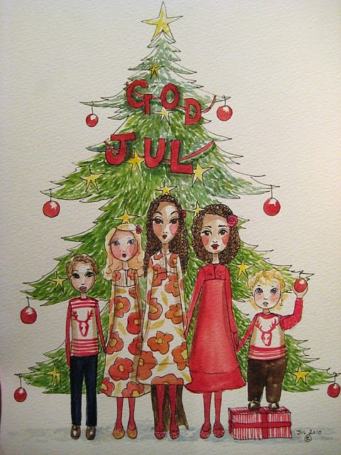 GOD JUL - Merry Christmas illustration by Blueshine Art