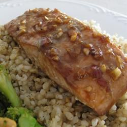 Wild salmon is marinated and baked in an Asian inspired soy and sesame sauce.