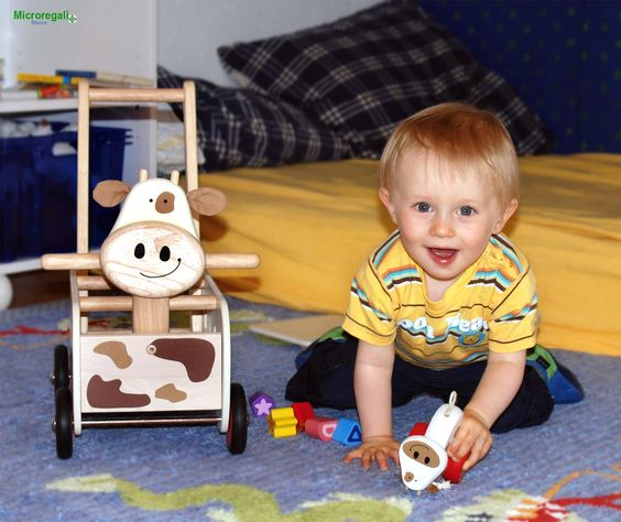 Carrellino Cavalcabile in Legno MUCCA cm 35x27x44 per bambini. Primi Passi. Età 12 Mesi. I'm Toy. - Tricicli, Primi Passi, Cavalli a Dondolo - Regali per i BAMBINI I'm Toy sono giochi e giocattoli prodotti in Thailandia, sono Eco Friendly poiche' utilizzano legno di alta qualita' degli alberi della gomma che non sono piu' produttivi e vengono quindi abbattuti. In questo modo si da nuova vita al legno.