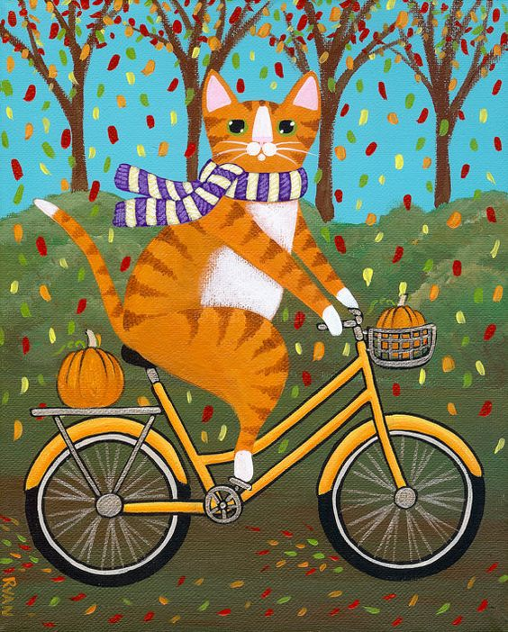 Autumn Fat Cat on a Bicycle with Pumpkins Original Folk Art by KilkennycatArt,: