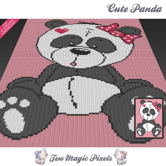 Crochet Stitches C2c : crochet and more cute panda graph crochet pandas crochet patterns ...