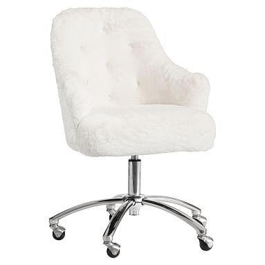 Polar Bear Faux Fur Tufted Swivel Desk Chair Tufted Desk Chair