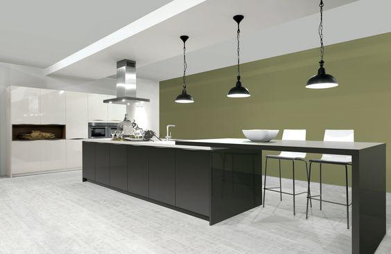 Strakke Witte Moderne Keuken Met Een Eiland: Strakke keuken met groot ...
