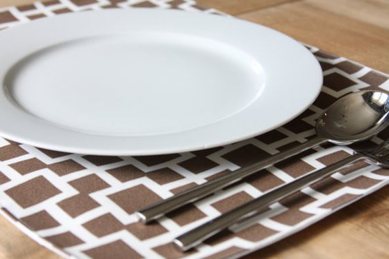 Placemats  Brown with White Squares