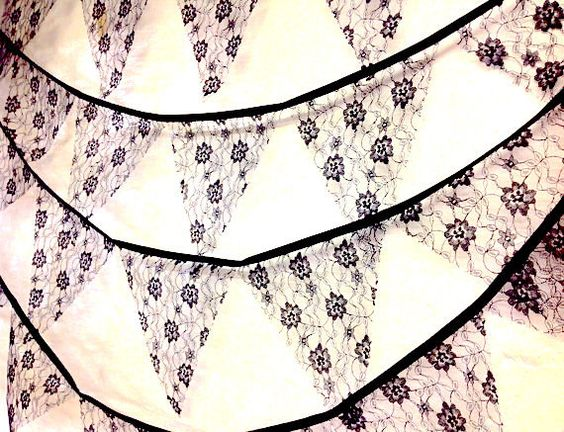 Wit of zwart of ivoor lace bunting 5 meter 19 ft, perfect voor de traditionele huwelijken, engagementen, shabby chic thema-evenementen