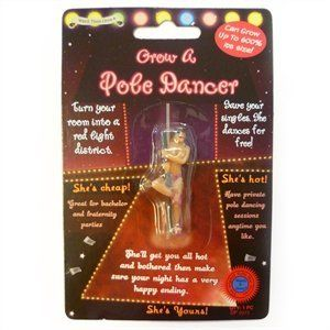 Grow Your Own Pole Dancer by Diabolical. $1.89. Will expand up to 600% in water. Shrinks back to original size gradually once dry, but can be used again and again!. These Grow Your Own Toys measure approx 4.5 cm x 1.4 cm x 1 cm before you add it to water. Grow your own POLE DANCER She dances for free. Turn your room into a red light district. GROWS 600% IN SIZE after 72 hours immersed in water. Shrinks back down to original size afterwards.