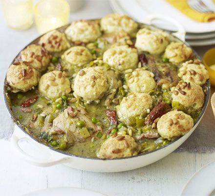 ummmm...pesto chicken stew with cheesy dumplings. My kind of cooking. From BBC good food