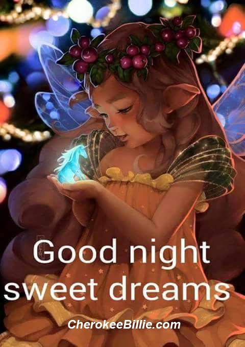 Wishing you a magical and peaceful night. Sweet dreams!  Many blessings, Cherokee Billie: