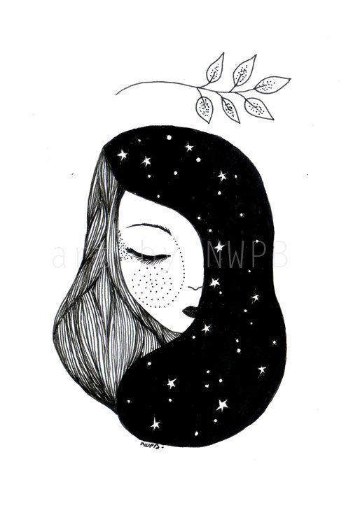 Goddess of the night. Illustration by Toshisworld on Etsy