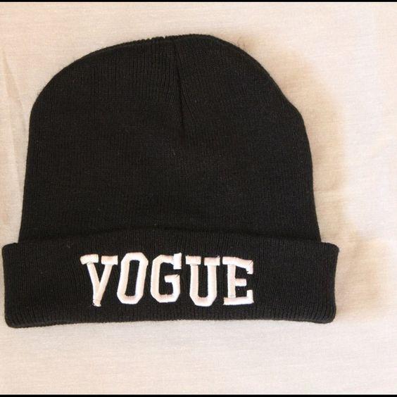 "Black ""VOGUE"" beanie hat Cute beanie hat with the word ""VOGUE"" Accessories Hats"