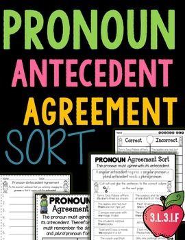 pronoun antecedent agreement sort student centered resources student and teacher pay teachers. Black Bedroom Furniture Sets. Home Design Ideas