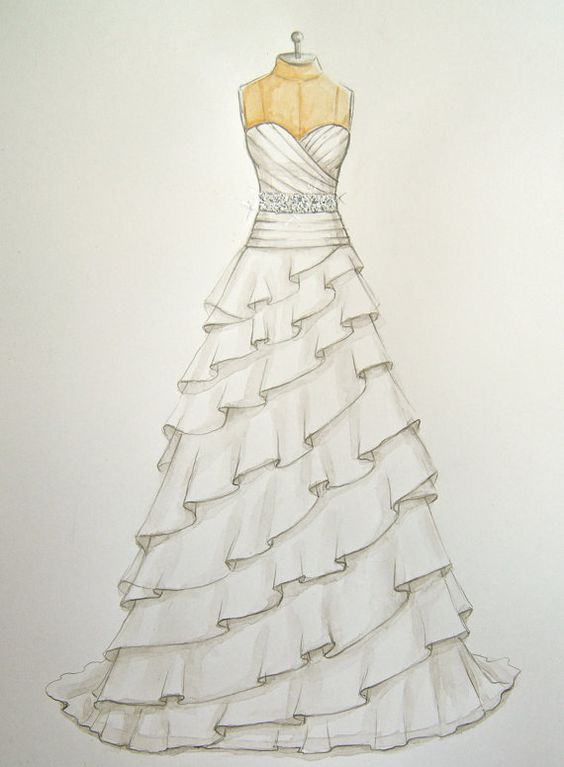 17 best images about simple cute drawings sketches Wedding dress illustration