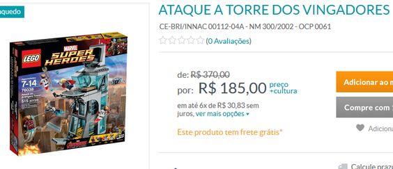 Lego Ataque à Torre dos Vingadores - 511 Peças << R$ 18500 em 6 vezes >>