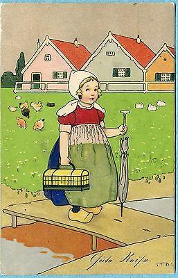 P0217 Fritz Baumgarten postcard, Dutch girl