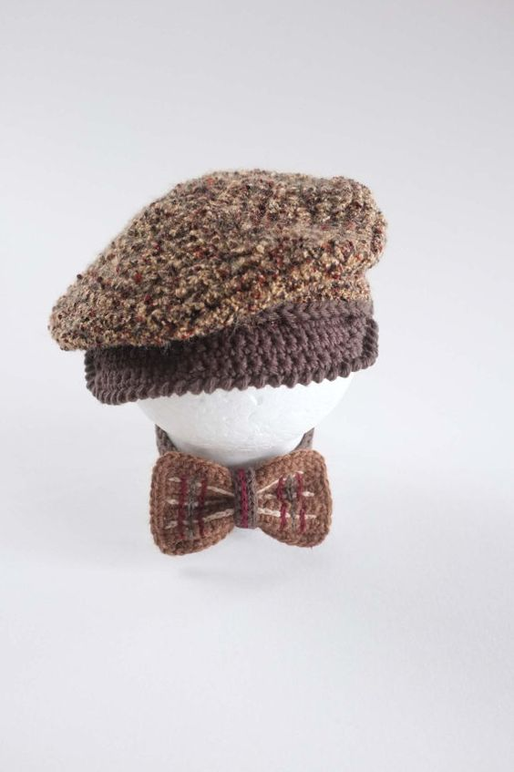 1803366c724 Items similar to Baby Newsboy Hat and Bow Tie Set Newborn Photo Props Tweed Newsboy  Cap Baby Boy Shower Gift Crochet Infant Hat Tweed Hat Cute Hats by Mila ...