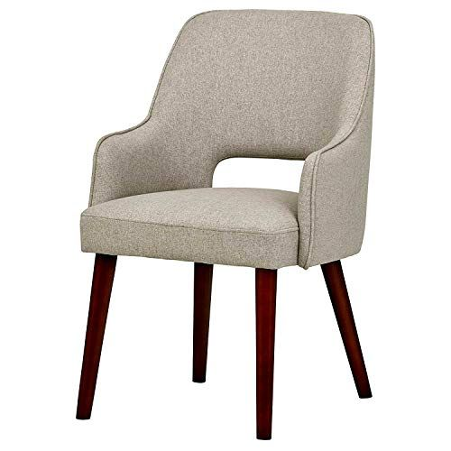 Curved Dining Chair Heavy Duty Wooden Frame Grey Fabric Padded