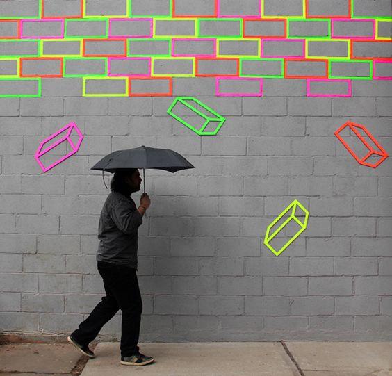 Neon tape bricks by Aakash Nihalani