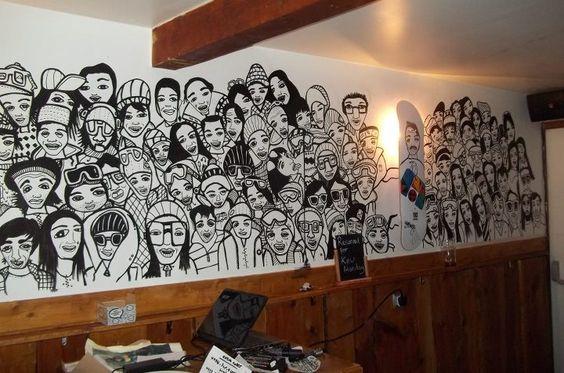 Kev Munday mural at Loop Bar, Tignes