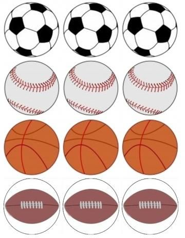 Cake Decorations Edible Balls : Sports themed Edible Cupcake Toppers 12 Sports Balls ...
