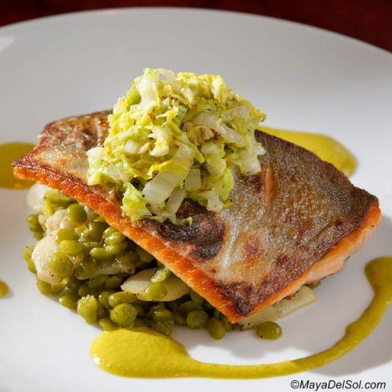pescado del dia | arctic char, split peas, salsify, cabbage, aji amarillo emulsion