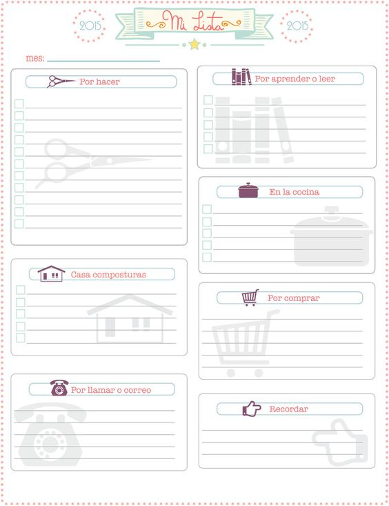 "Gratis imprimible de ""lista de pendientes o notas"", free printable spanish ""to do list"":"