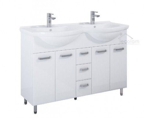 Badmobel Doppelwaschtisch Rio 125 Cm Schrank Amigo Kombi Waschbecken Fur Zwei Optional Click Clack Siphon Waschbecken Doppelwaschtisch Unterschrank
